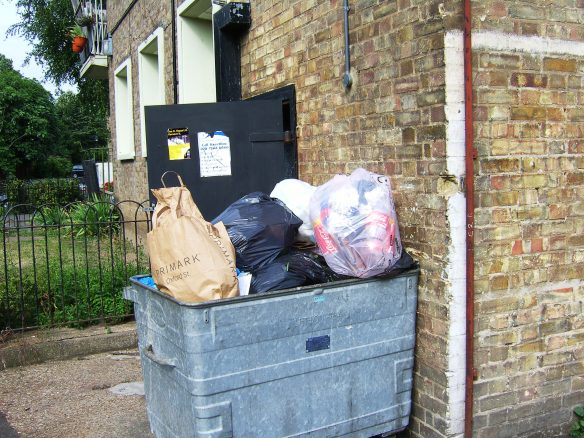 The rubbish container at the end of Rosebery House near the football pitch
