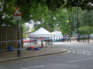 Police setup an incidence tent at the scene of the attack