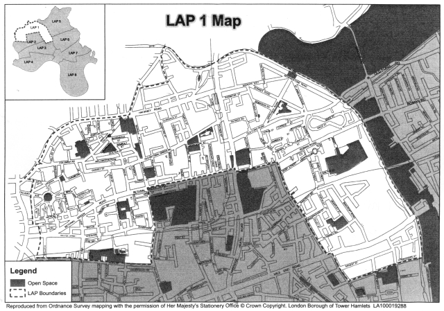 the LAP 1 area map, the black areas are green spaces and the white area is the LAP 1 area to include Bethnal Green North, Weavers and Mile End