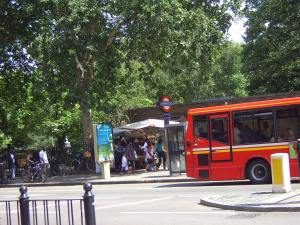 Bethnal Green station with the disused toilet block just visible behind the bus and underground sign